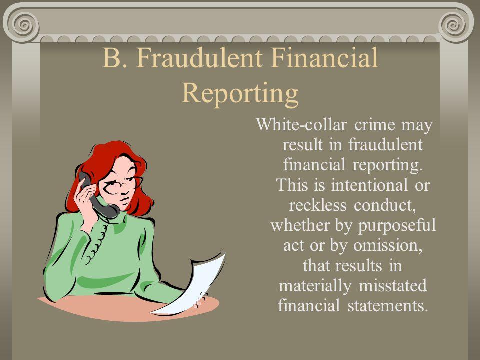 B. Fraudulent Financial Reporting White-collar crime may result in fraudulent financial reporting.