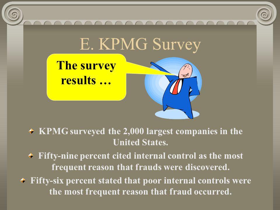 E. KPMG Survey KPMG surveyed the 2,000 largest companies in the United States.