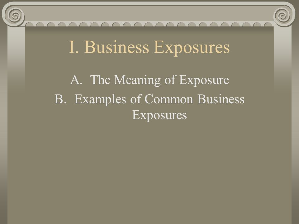 I. Business Exposures A.The Meaning of Exposure B.Examples of Common Business Exposures
