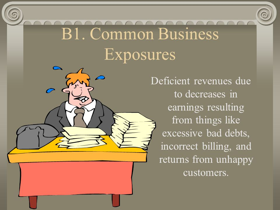 B2. Common Business Exposures Loss of assets due to theft, acts of violence, or natural disaster