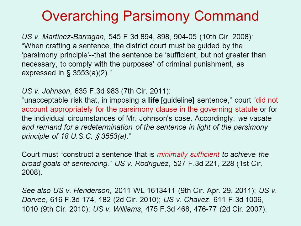 """Overarching Parsimony Command US v. Martinez-Barragan, 545 F.3d 894, 898, 904-05 (10th Cir. 2008): """"When crafting a sentence, the district court must"""