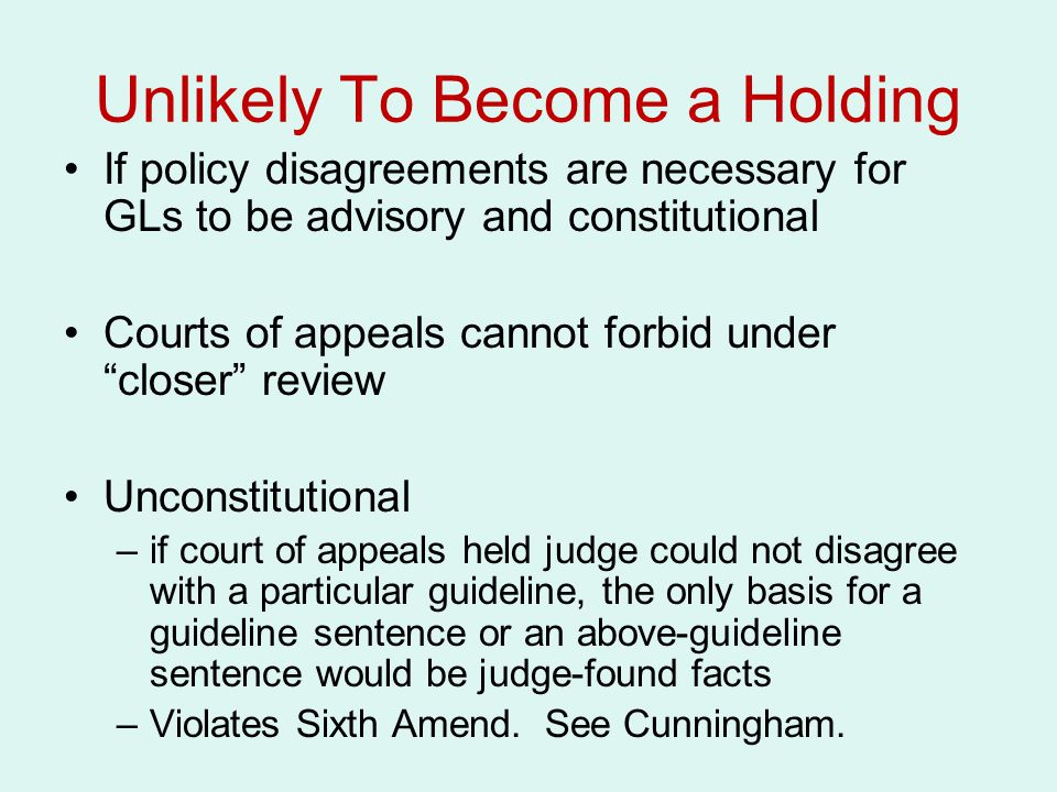 """Unlikely To Become a Holding If policy disagreements are necessary for GLs to be advisory and constitutional Courts of appeals cannot forbid under """"cl"""