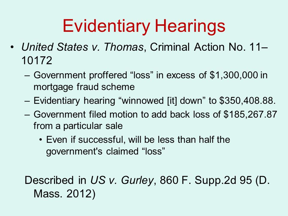 Evidentiary Hearings United States v.Thomas, Criminal Action No.