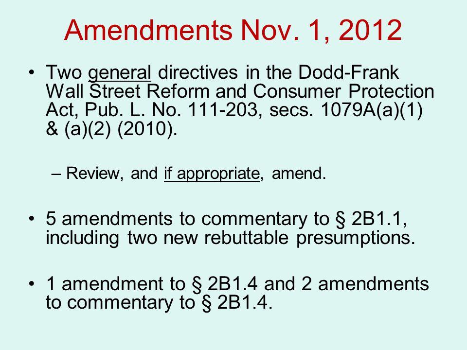 Amendments Nov. 1, 2012 Two general directives in the Dodd-Frank Wall Street Reform and Consumer Protection Act, Pub. L. No. 111-203, secs. 1079A(a)(1