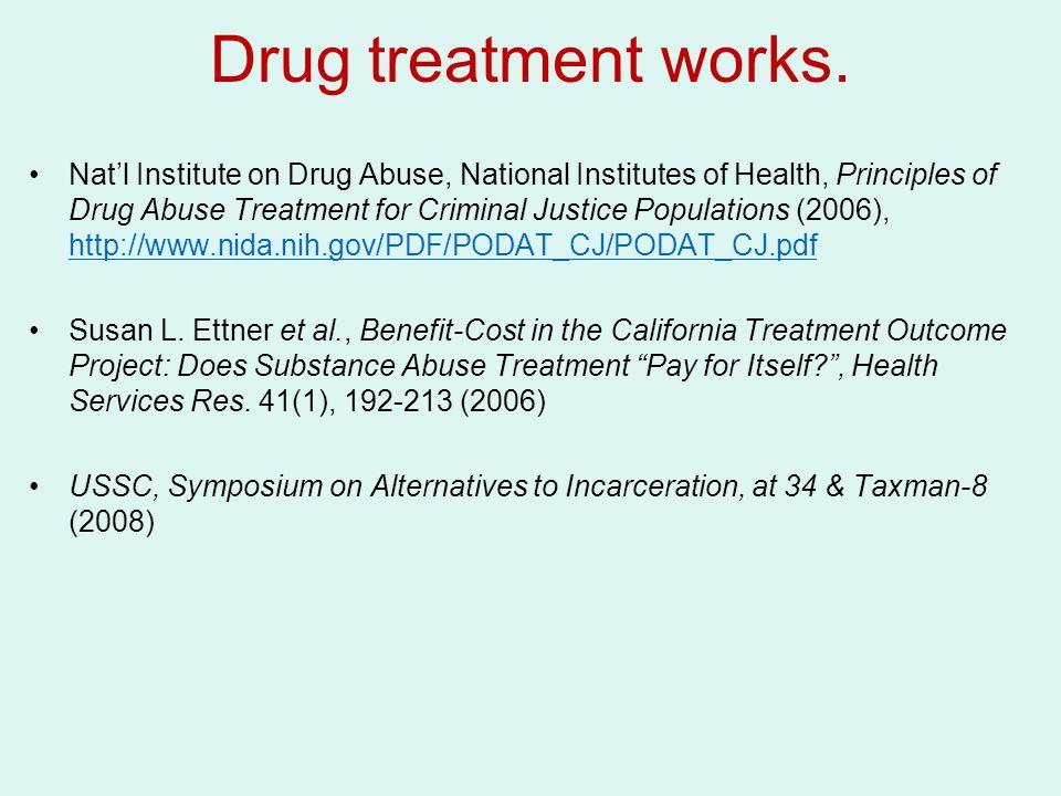 Drug treatment works. Nat'l Institute on Drug Abuse, National Institutes of Health, Principles of Drug Abuse Treatment for Criminal Justice Population