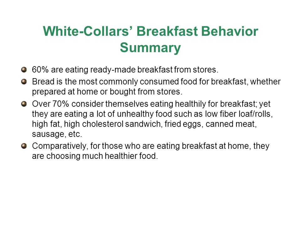 White-Collars' Breakfast Behavior Summary 60% are eating ready-made breakfast from stores.