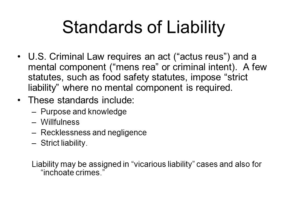 Standards of Liability U.S.