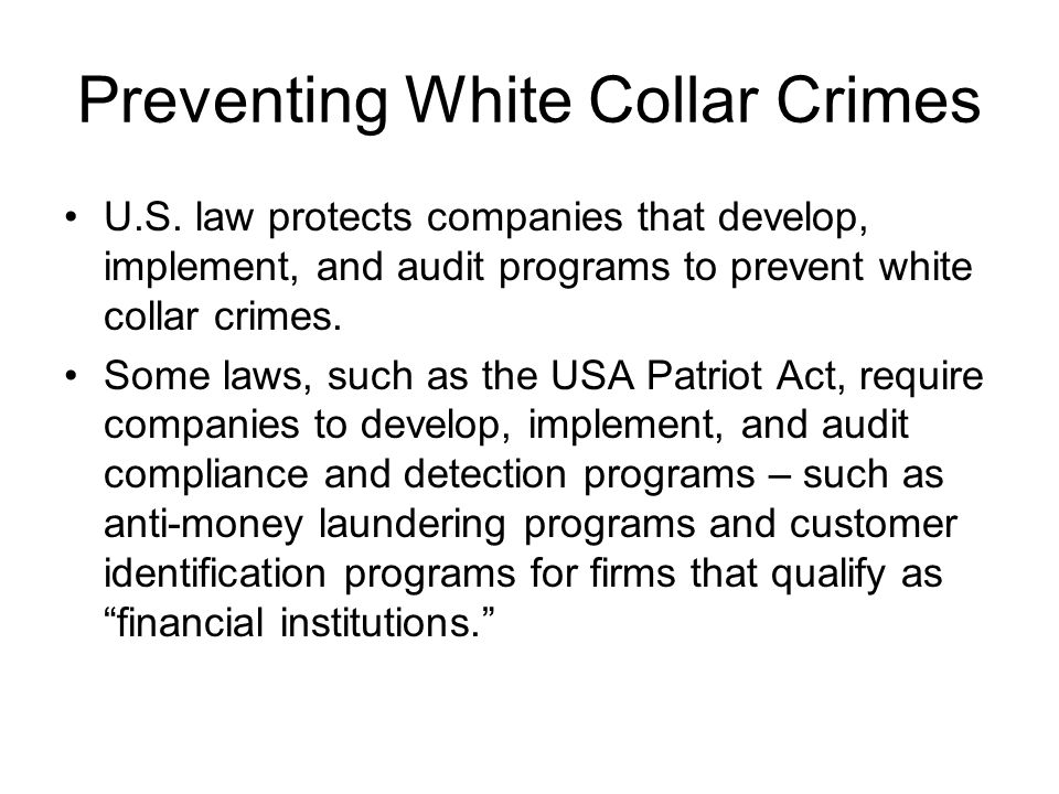 Preventing White Collar Crimes U.S.
