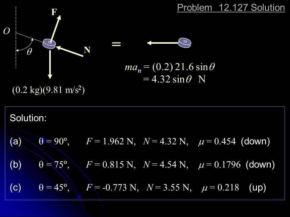 Problem 12.127 Solution  (0.2 kg)(9.81 m/s 2 ) O N F ma n = (0.2) 21.6 sin  = 4.32 sin  N = Solution: (a)  = 90 o, F = 1.962 N, N = 4.32 N,  = 0.