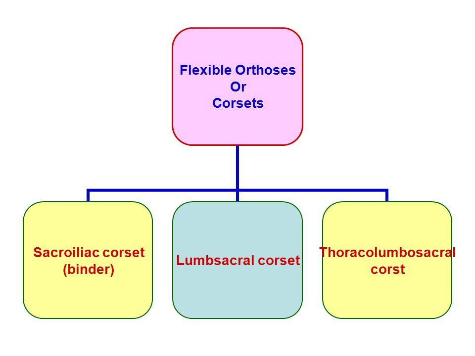 Flexible Orthoses Or Corsets Sacroiliac corset (binder) Lumbsacral corset Thoracolumbosacral corst