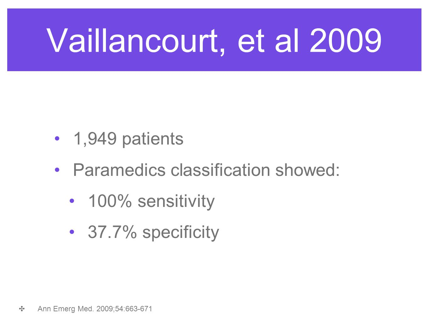 1,949 patients Paramedics classification showed: 100% sensitivity 37.7% specificity ✤ Ann Emerg Med. 2009;54:663-671