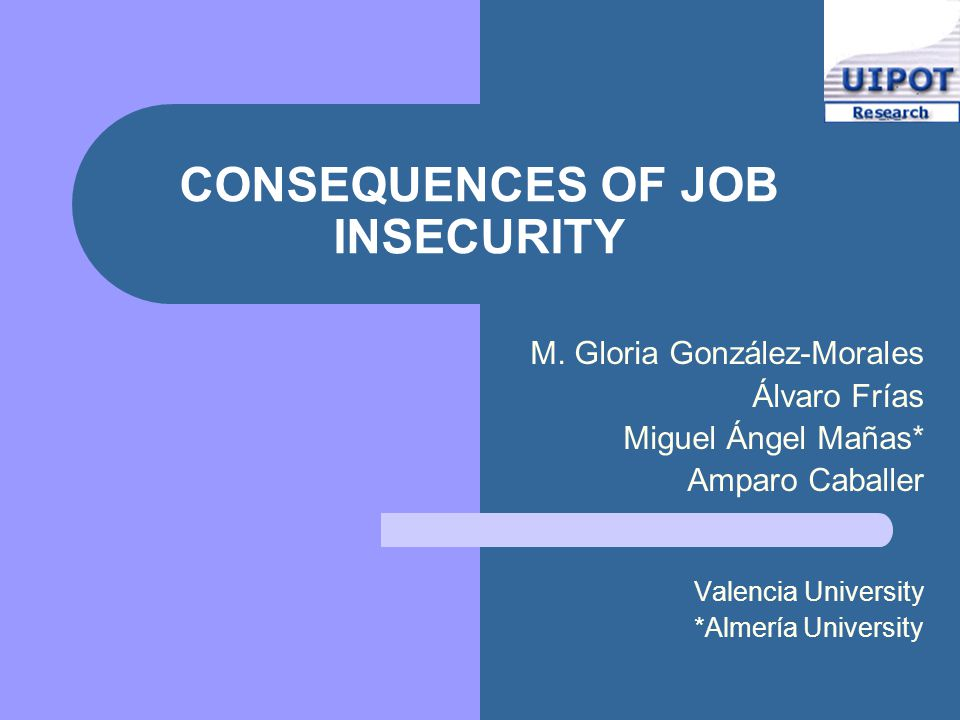 CONSEQUENCES OF JOB INSECURITY M.