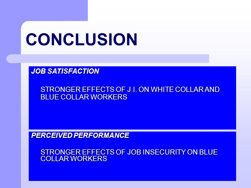 CONCLUSION PERCEIVED PERFORMANCE STRONGER EFFECTS OF JOB INSECURITY ON BLUE COLLAR WORKERS JOB SATISFACTION STRONGER EFFECTS OF J.I. ON WHITE COLLAR A