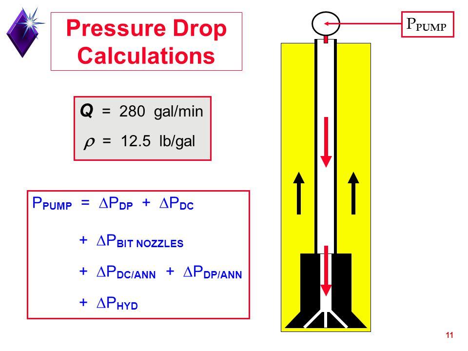 11 P PUMP =  P DP +  P DC +  P BIT NOZZLES +  P DC/ANN +  P DP/ANN +  P HYD Q = 280 gal/min  = 12.5 lb/gal Pressure Drop Calculations P PUMP