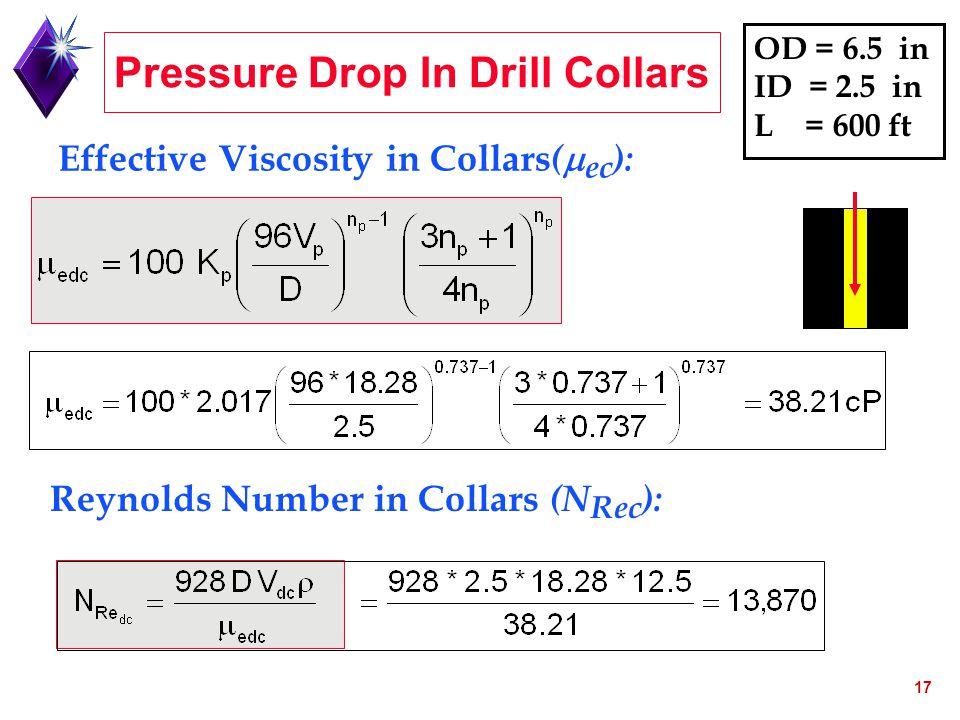 17 Effective Viscosity in Collars (  ec ): Reynolds Number in Collars (N Rec ): OD = 6.5 in ID = 2.5 in L = 600 ft Pressure Drop In Drill Collars