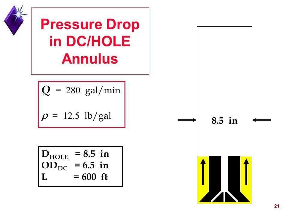 21 Pressure Drop in DC/HOLE Annulus D HOLE = 8.5 in OD DC = 6.5 in L = 600 ft Q =  gal/min  =  lb/gal 8.5 in