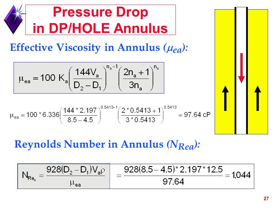 27 Effective Viscosity in Annulus (  ea ): Reynolds Number in Annulus (N Rea ): Pressure Drop in DP/HOLE Annulus