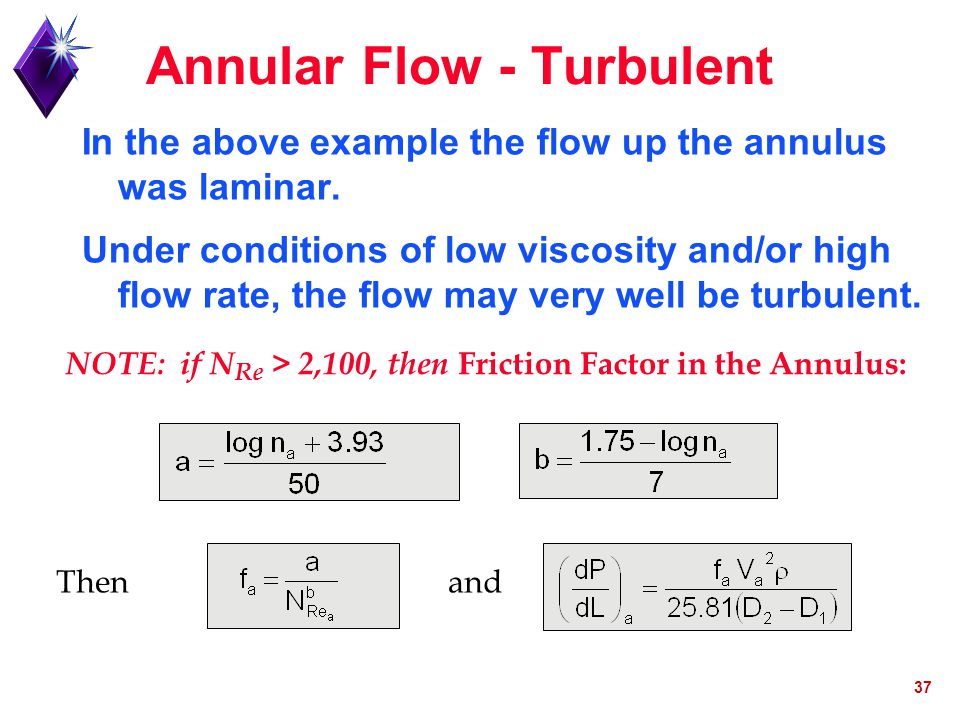 37 Annular Flow - Turbulent In the above example the flow up the annulus was laminar. Under conditions of low viscosity and/or high flow rate, the flo