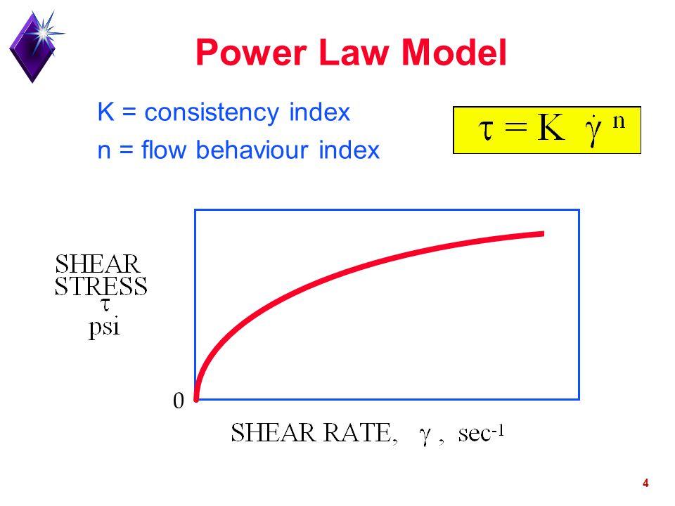 4 Power Law Model K = consistency index n = flow behaviour index 0