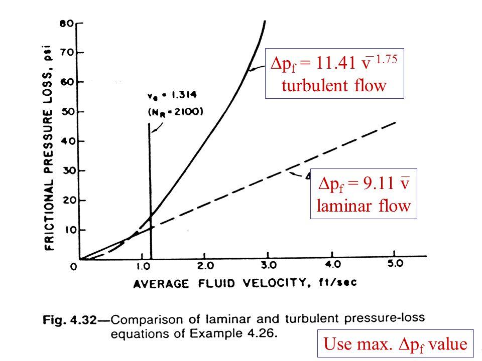 44  p f = 11.41 v 1.75 turbulent flow  p f = 9.11 v laminar flow Use max.  p f value