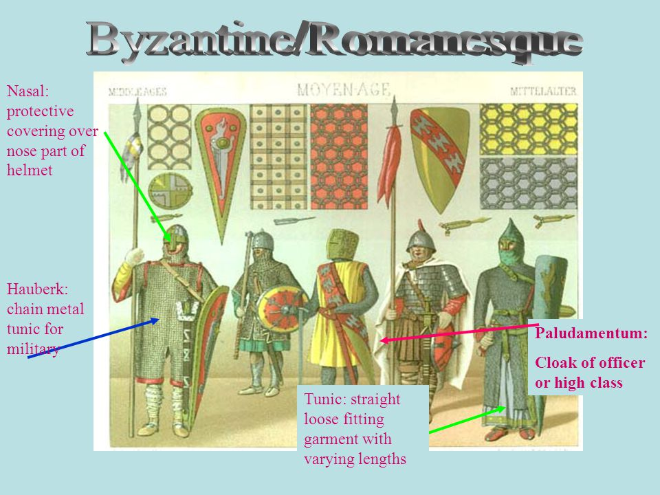Paludamentum: Cloak of officer or high class Hauberk: chain metal tunic for military Nasal: protective covering over nose part of helmet Tunic: straight loose fitting garment with varying lengths