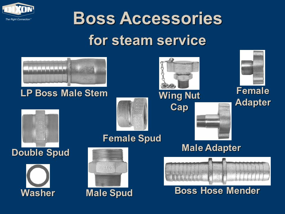 LP Boss Male Stem Boss Hose Mender Double Spud Washer Male Spud Female Spud Wing Nut Cap Female Adapter Male Adapter Boss Accessories for steam service