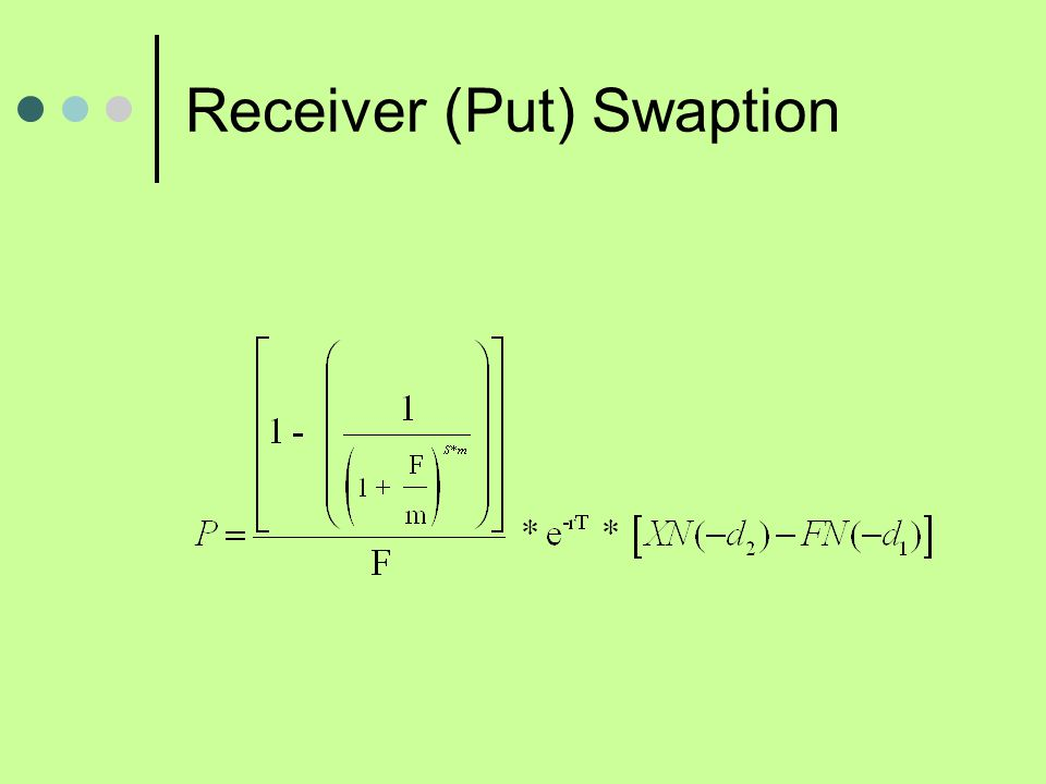 Swaption Example 2 year call (put) swaption on a 4 year swap (semi-annual resets) that has a pay fixed rate of 7%.