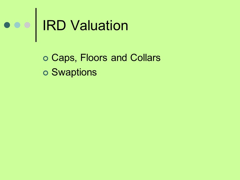 IRD Valuation Caps, Floors and Collars Swaptions
