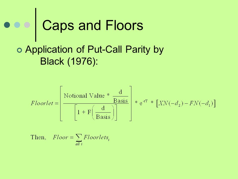 Caps and Floors Application of Put-Call Parity by Black (1976):