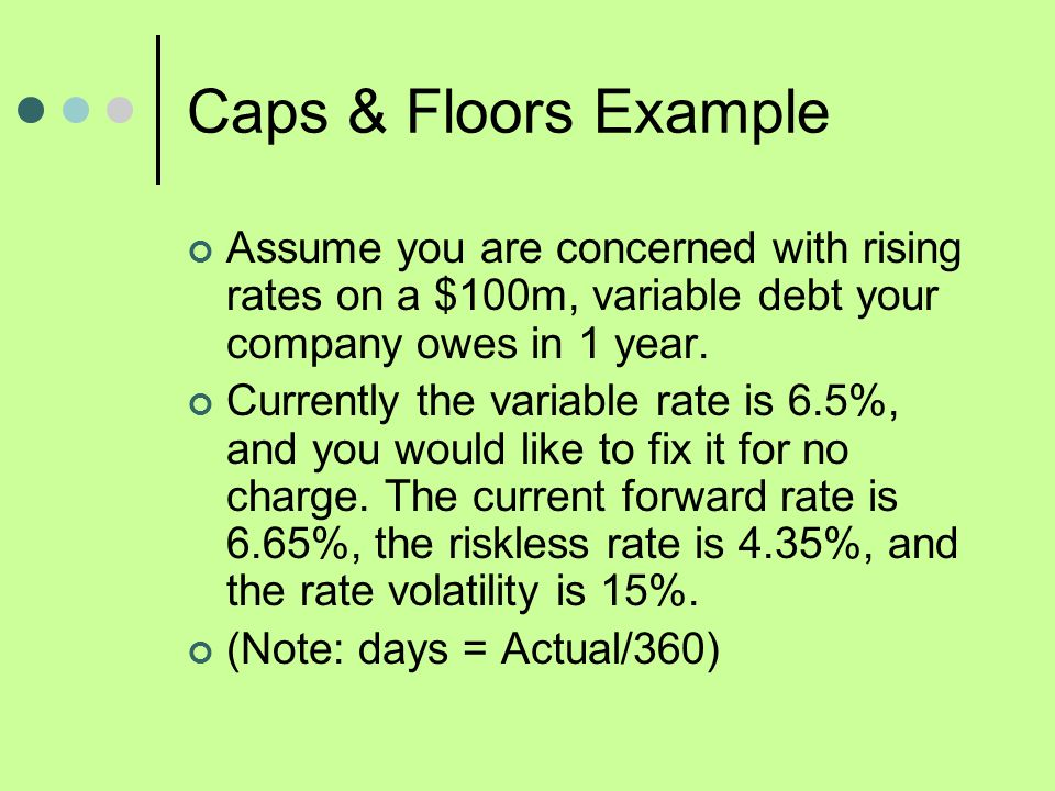 Caps & Floors Example Assume you are concerned with rising rates on a $100m, variable debt your company owes in 1 year.