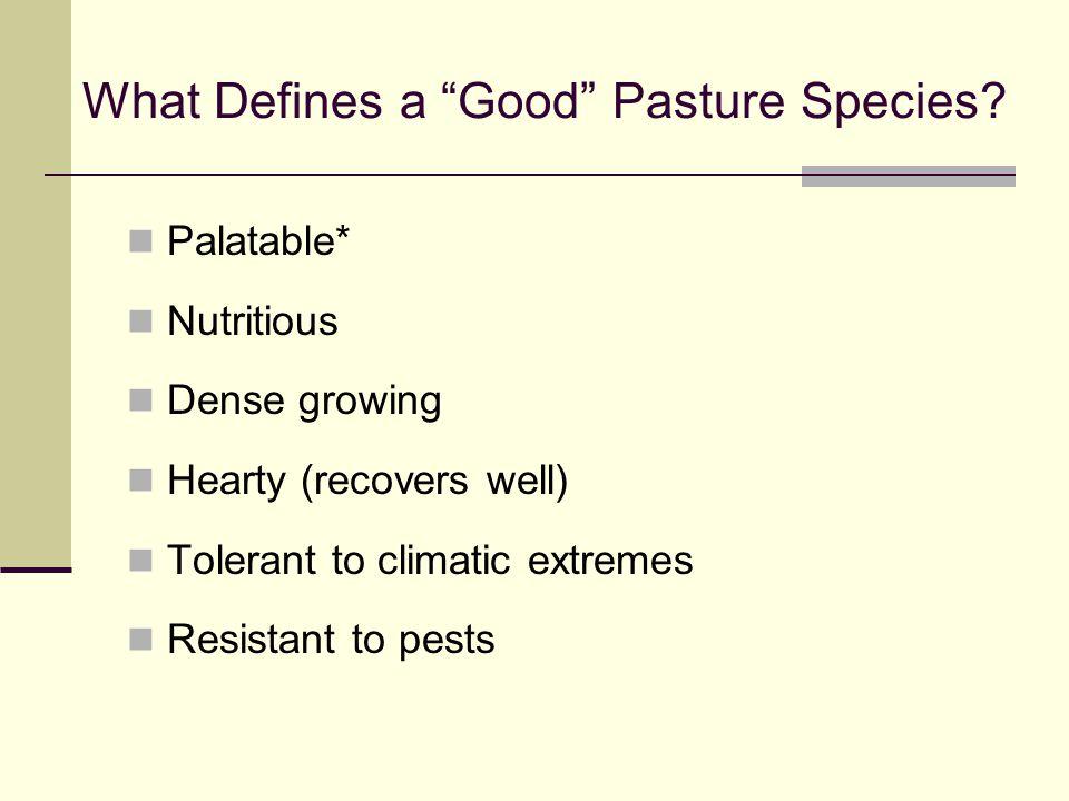 Common Characteristics of Some Pasture Species GRASSES
