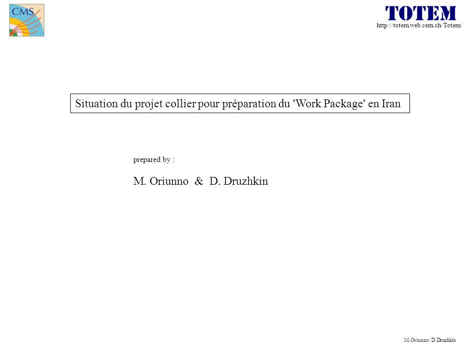 http://totem.web.cern.ch/Totem/ M.Oriunno/ D.Druzhkin Situation du projet collier pour préparation du Work Package en Iran prepared by : M.