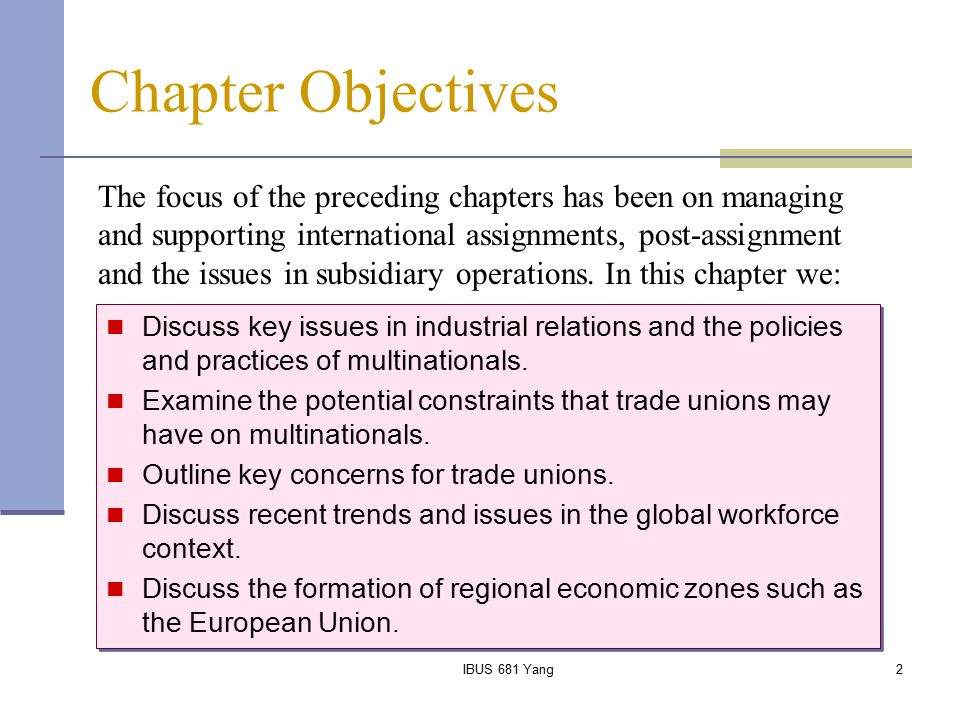 IBUS 681 Yang3 Introduction Cross-cultural difference in industrial relations (IR) and collective bargaining The concept Level of negotiations Objectives Ideology Structures Rules and regulations Cross-cultural differences also emerge as to the enforceability of collective agreements.
