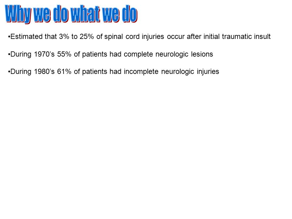 Estimated that 3% to 25% of spinal cord injuries occur after initial traumatic insult During 1970's 55% of patients had complete neurologic lesions During 1980's 61% of patients had incomplete neurologic injuries