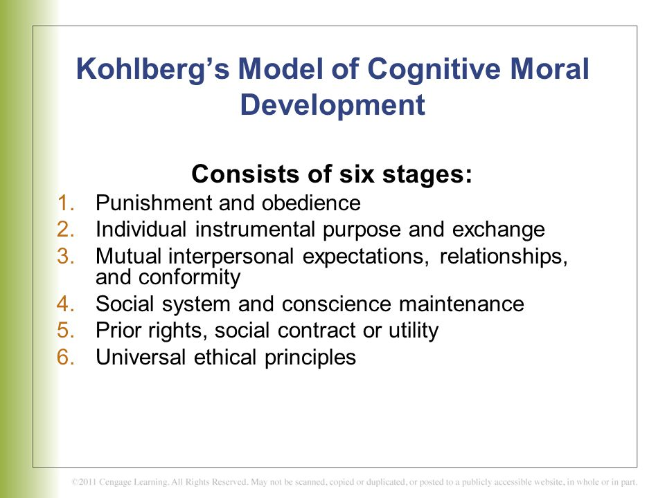 Kohlberg's Model of Cognitive Moral Development Consists of six stages: 1.Punishment and obedience 2.Individual instrumental purpose and exchange 3.Mu