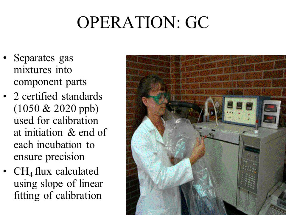 OPERATION: GC Separates gas mixtures into component parts 2 certified standards (1050 & 2020 ppb) used for calibration at initiation & end of each incubation to ensure precision CH 4 flux calculated using slope of linear fitting of calibration