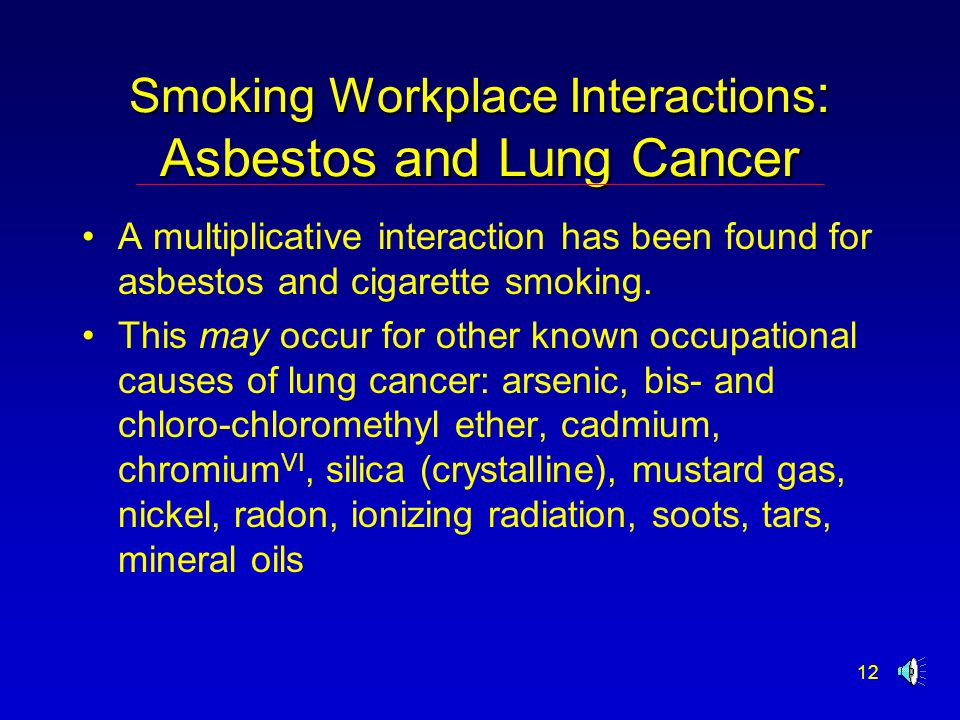 12 Smoking Workplace Interactions : Asbestos and Lung Cancer A multiplicative interaction has been found for asbestos and cigarette smoking. This may