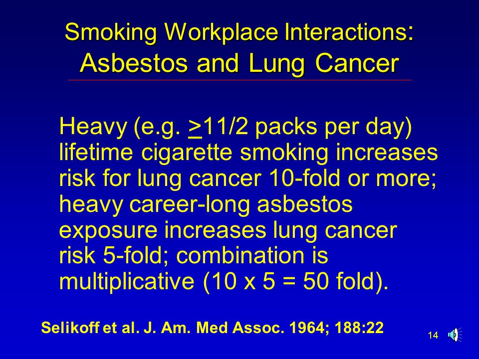 14 Smoking Workplace Interactions : Asbestos and Lung Cancer Heavy (e.g.