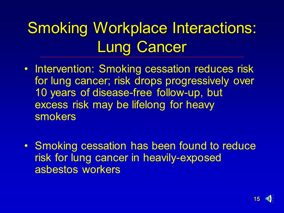 15 Smoking Workplace Interactions: Lung Cancer Intervention: Smoking cessation reduces risk for lung cancer; risk drops progressively over 10 years of disease-free follow-up, but excess risk may be lifelong for heavy smokers Smoking cessation has been found to reduce risk for lung cancer in heavily-exposed asbestos workers