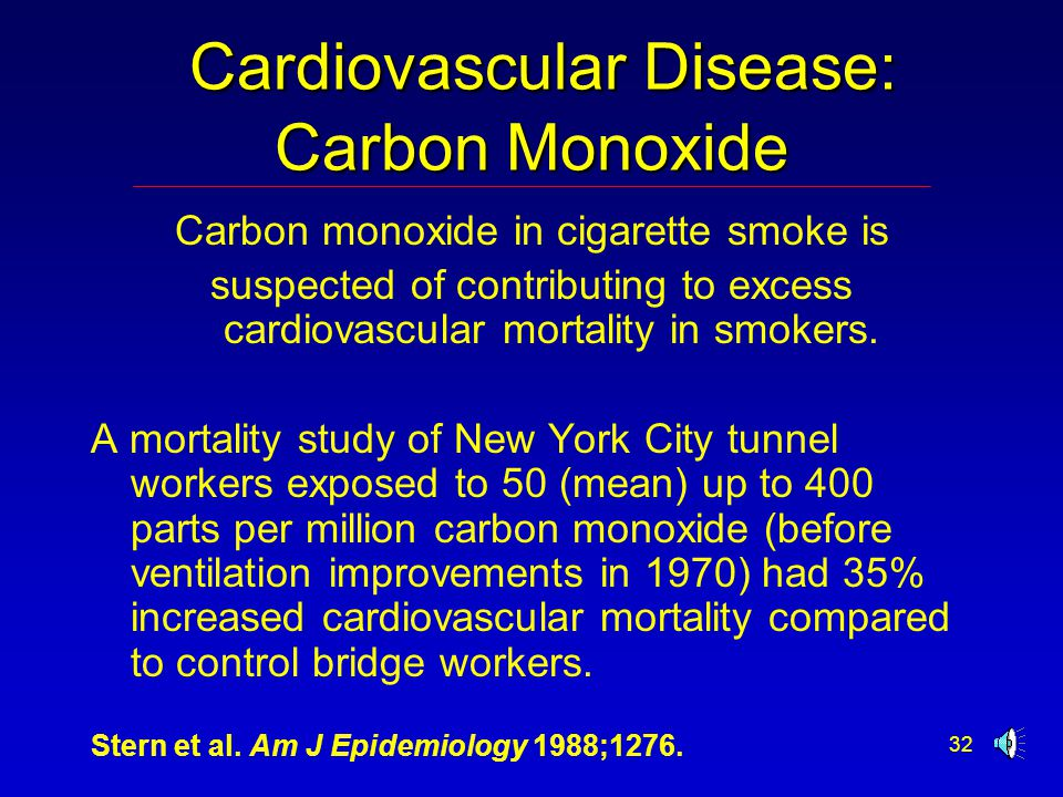 32 Cardiovascular Disease: Carbon Monoxide Carbon monoxide in cigarette smoke is suspected of contributing to excess cardiovascular mortality in smoke