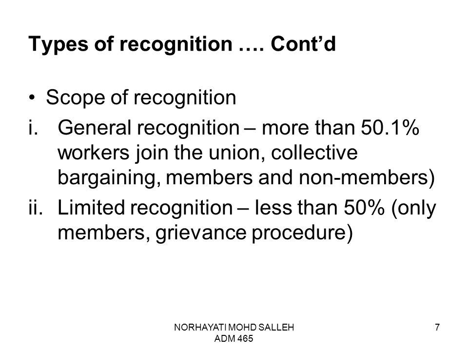 Types of recognition ….