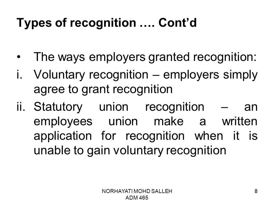 NORHAYATI MOHD SALLEH ADS 465 19 Discussion questions: 1.Analyse the relationship between registration and recognition.