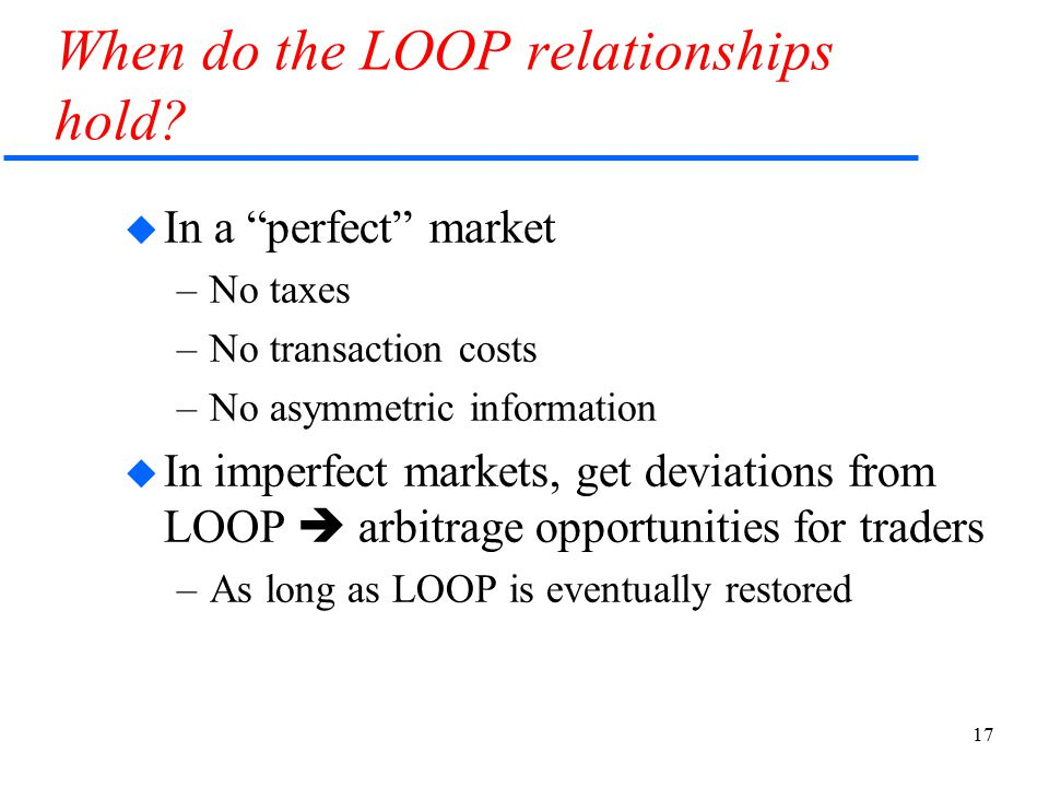 "17 When do the LOOP relationships hold?  In a ""perfect"" market –No taxes –No transaction costs –No asymmetric information  In imperfect markets, get"
