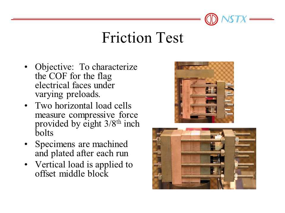 Friction Test Objective: To characterize the COF for the flag electrical faces under varying preloads. Two horizontal load cells measure compressive f