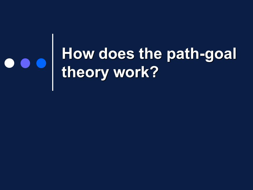 How does the path-goal theory work?