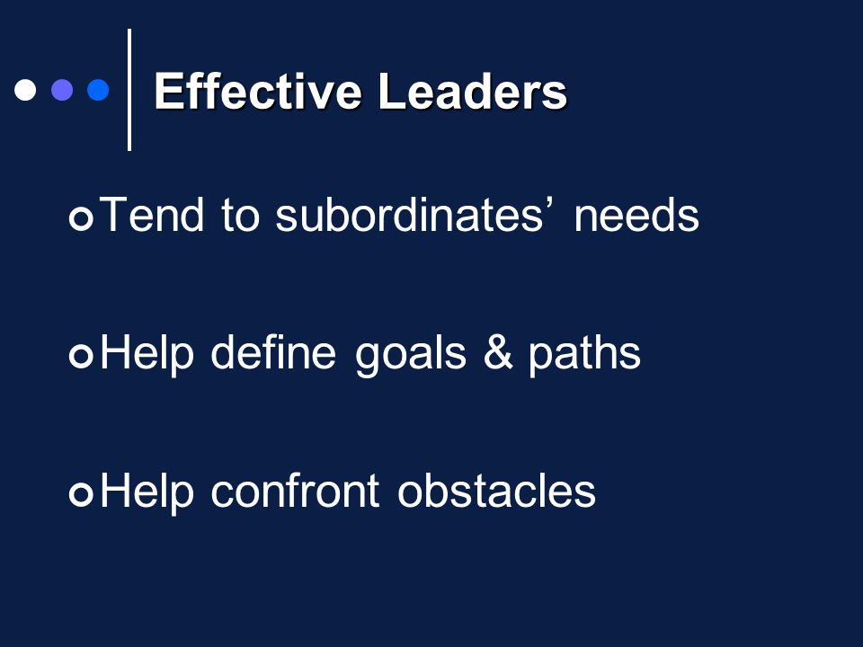 Effective Leaders Tend to subordinates' needs Help define goals & paths Help confront obstacles