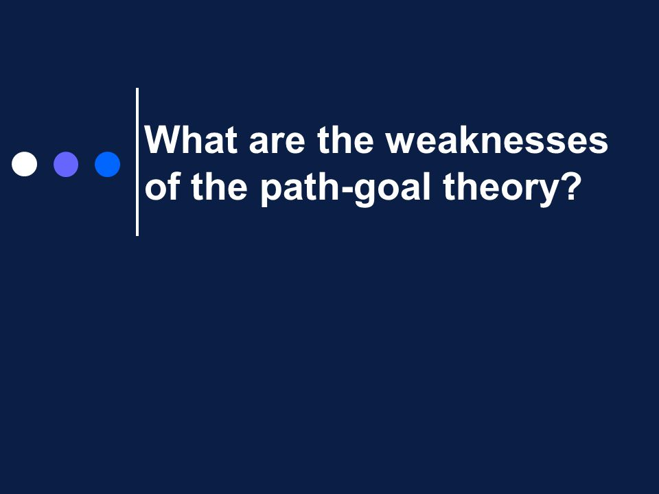What are the weaknesses of the path-goal theory?