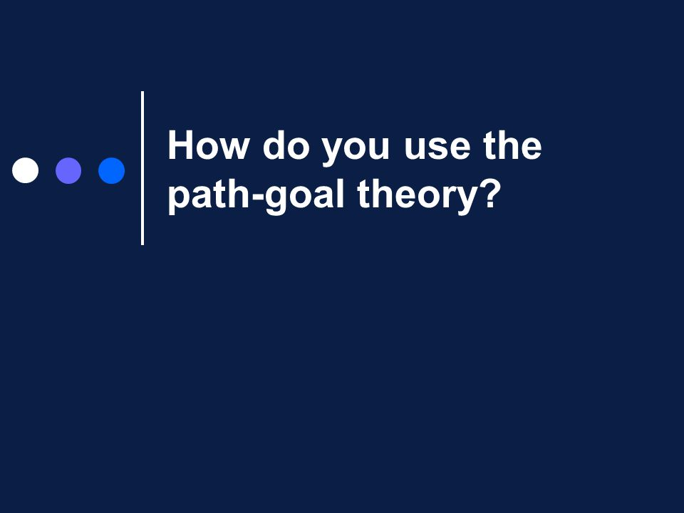 How do you use the path-goal theory?
