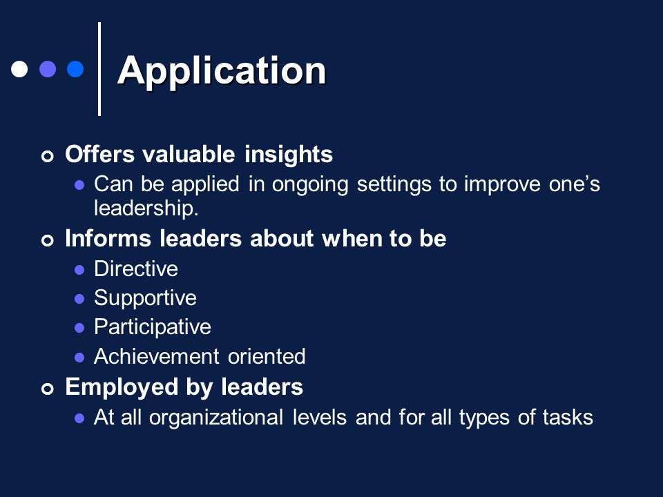 Application Offers valuable insights Can be applied in ongoing settings to improve one's leadership.