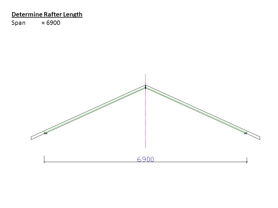 Determine Rafter Length Span = 6900